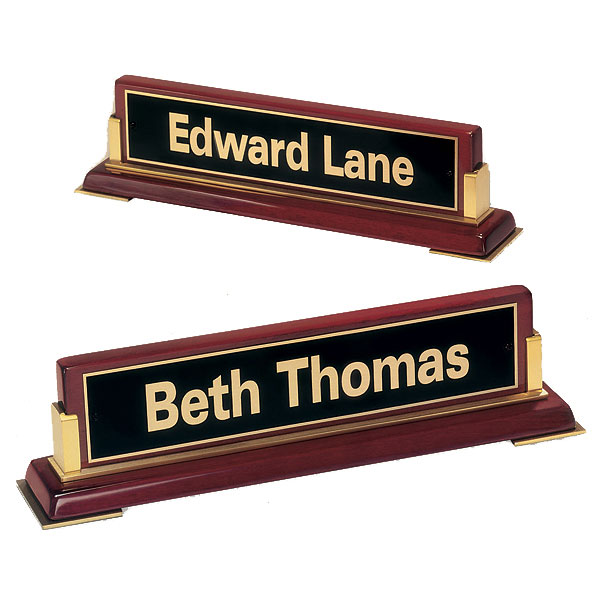 Rosewood and Brass Desk Nameplate