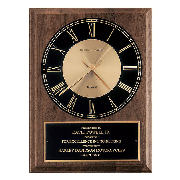 American Walnut Wall Clock - Black Dial
