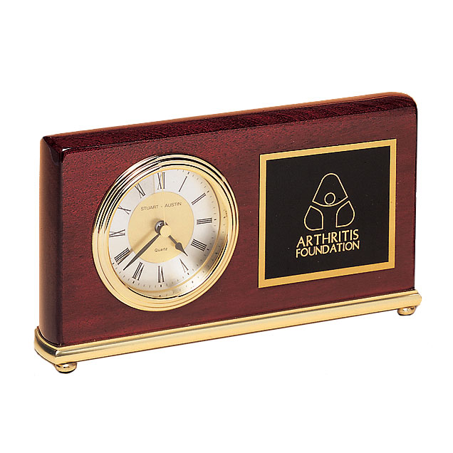 Rosewood Clock With Brass Base